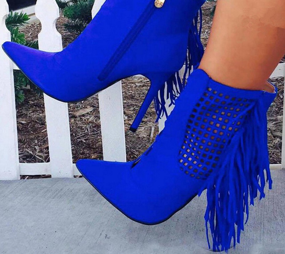 New arrival blue suede leather zipper pointed toe high heels booties tassels decorated cut-outs ankle fashion boots women new arrival black leather and suede ankle boots women pointed toe short boots wedges boots metal buckles decorated free shipping