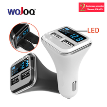WOJOQ Dual USB Car Charger With Smart LED Display Mobile Phone Car-charger Adapter Phone Charger 4.8A for Apple for Android etc