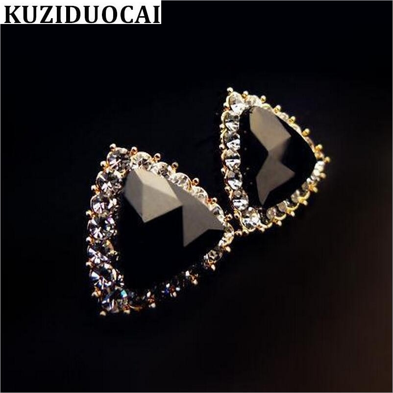 Kuziduocai New Fashion Jewelry Rhinestones Crystal Triangle Dazzling Stud Earring For Women Gift Girls Brincos Statement E-130