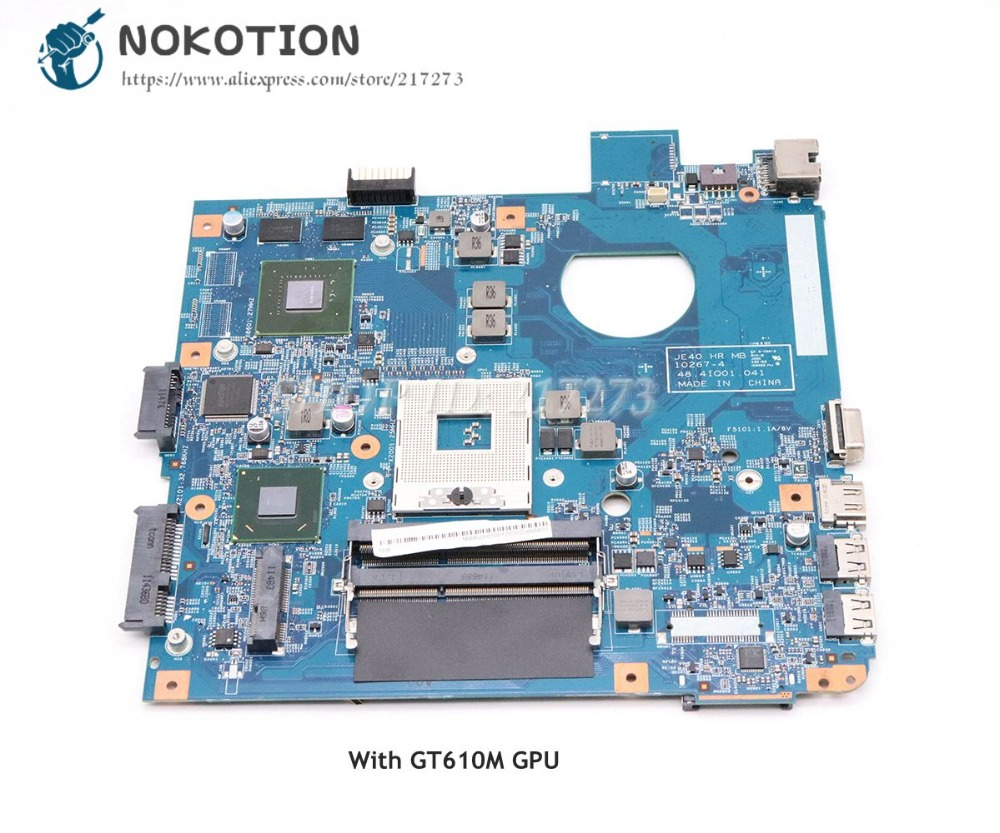 NOKOTION MBRUY01001 JE40 HR MB 48.4IQ01.041 For Acer asipre 4750 4752 Laptop Motherboard HM65 GT610M DDR3 nokotion laptop motherboard for acer aspire 4752 4755 je40 hr mb 10267 4 48 4iq01 041 hm65 ddr3 mbrpt01001 mb rpt01 001