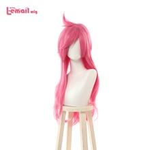 L e mail peruca jogo lol katarina cosplay perucas batalha academia cosplay peruca longa rosa dia das bruxas resistente ao calor do cabelo sintético