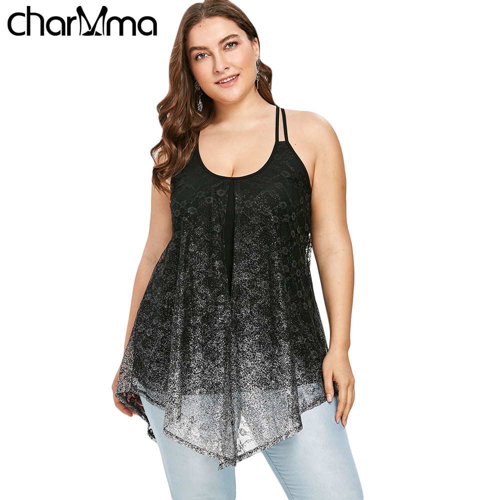 Plus Size Women   Tank     Top   Summer Women Glittery Split U Neck Sleeveless Ladies sexy   Tops   Camis female T-shirt Women vests whips