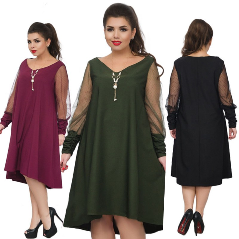 Loose Black Women Dress 2018 Plus size Summer Dress Sexy Mesh Beach Dress Big Size Sheer Party dress See Through Vestido 5XL 6XL