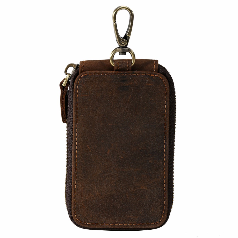 2017 handmade 100% Genuine leather key wallet dark brown vintage retro style card key holder for men & women unique design  4035 terse key wallet men lettering handmade leather calfhide bespoke wallet men key holder exquisite hand patina good quality