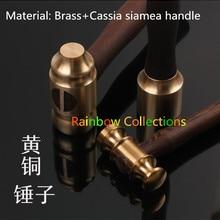 Высокое качество H62 латунный молоток+ Кассия сиамская ручка ручной работы молотки, DIY домашний молоток инструменты кожа резьба молоток