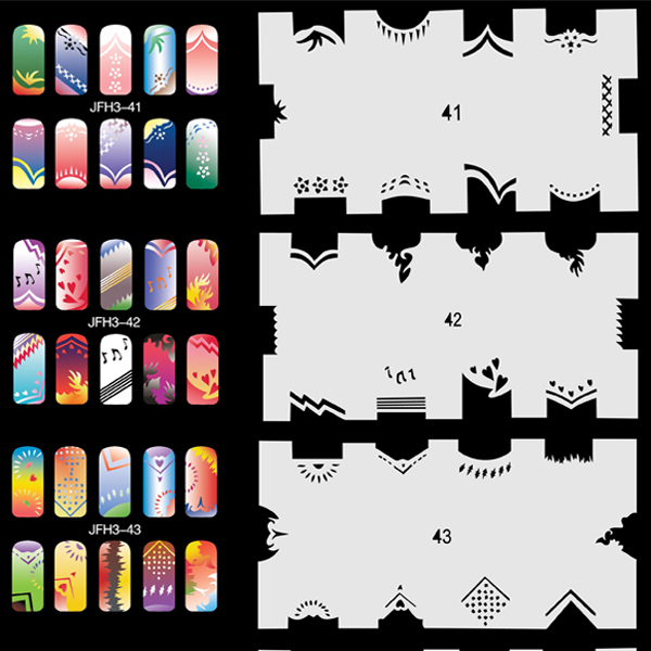 20 Sheets/Lot 240 Different Designs Airbrush Nail STENCIL Template Set No.3