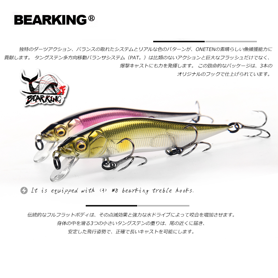 2018 hot Bearking perfect action 12different colors fishing lures,98mm/10g, sp minnow 12 different colorful color,free shipping