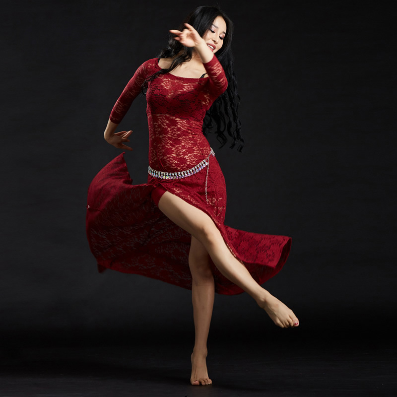 2018 New Girls Belly Dance Dress Clothing Women Dance Sexy Lace Outfits Dresses Ladies Fashion Modal Bellydance Costume