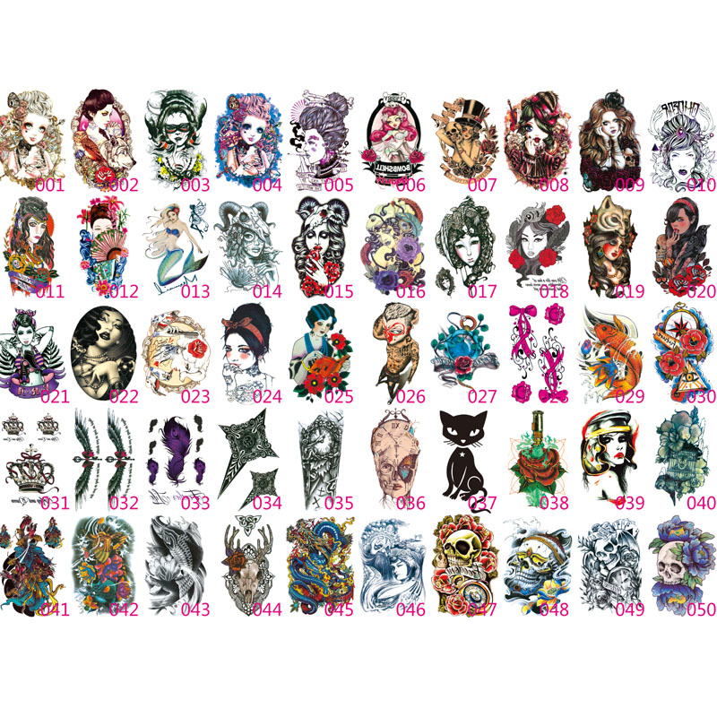 36 Sheet Body Art Beauty Makeup Sexy Dangerous Sexy Skull Tattoo Waterproof Temporary Tattoo Stickers Sexy