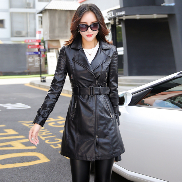 leather jacket women Autumn Winter Faux Leather Jackets Lady Long design Motorcycle Style Lady black green Trench Coat 6707 2