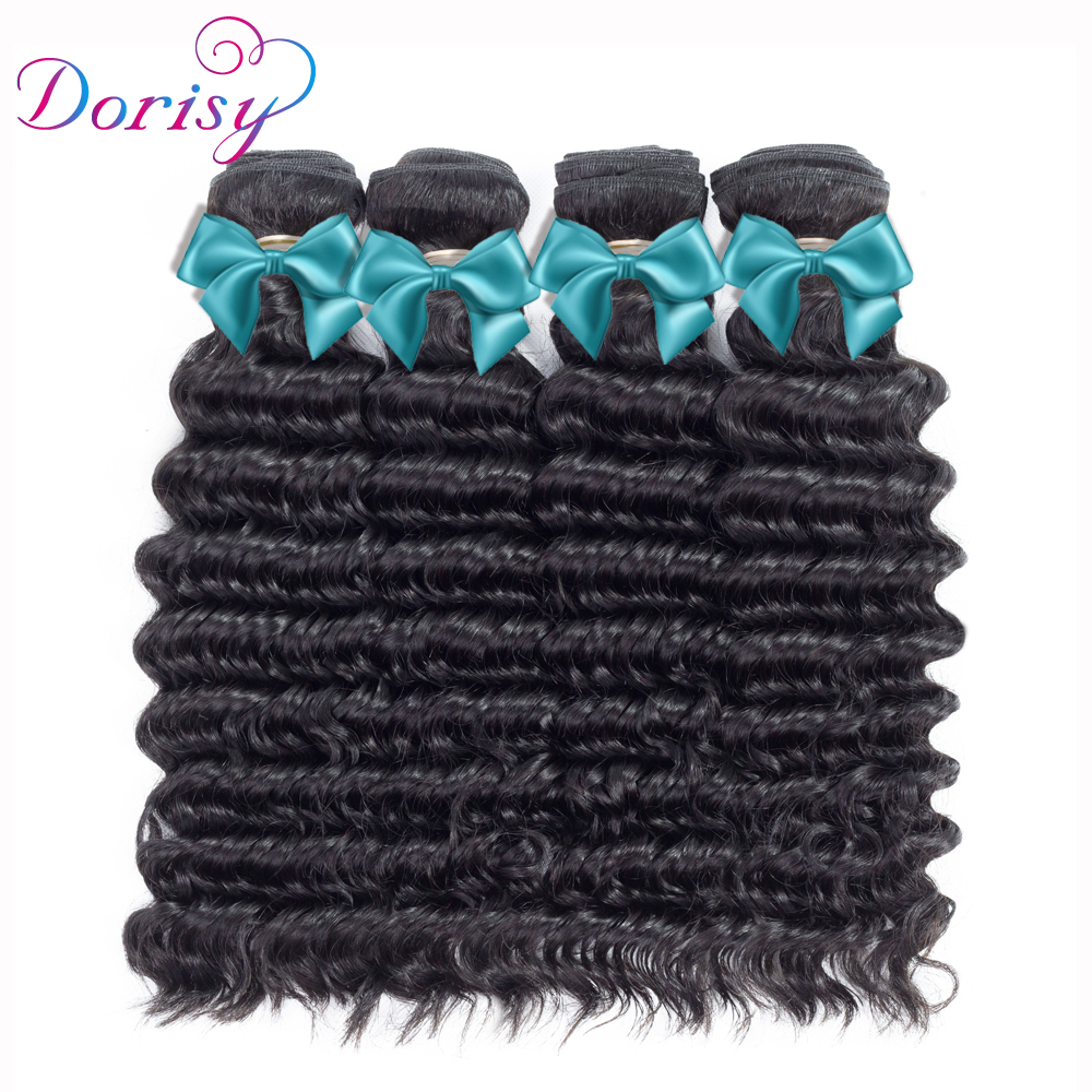 Dorisy Hair Peruvian Curly Weave Human Hair Extensions Deep Wave Peruvian Deep Wave 4 Bundles Non Remy Deep Curly Hair Weaving