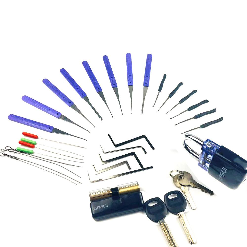 Lock Pick Set Tension Wrench Tool , Broken Key Extractor Tools with Transparent Practice Combination image