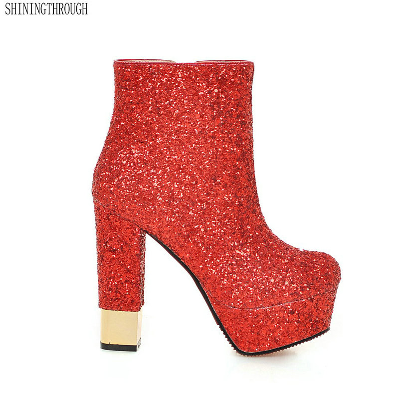 Grande taille 33-43 glitter femmes bottes 13 cm super haute talons cheville bottes 4 cm plate-forme bling dames boot sexy modèle chaussures chaussures