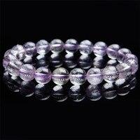 9.5mm Genuine Natural Purple Kunzite Crystal Round Clear Beads Jewelry Women Female Charm Stretch Bracelet Just One