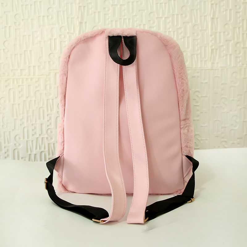 Moon Wood Faux Fur Rucksack - Pink, White or Black 2