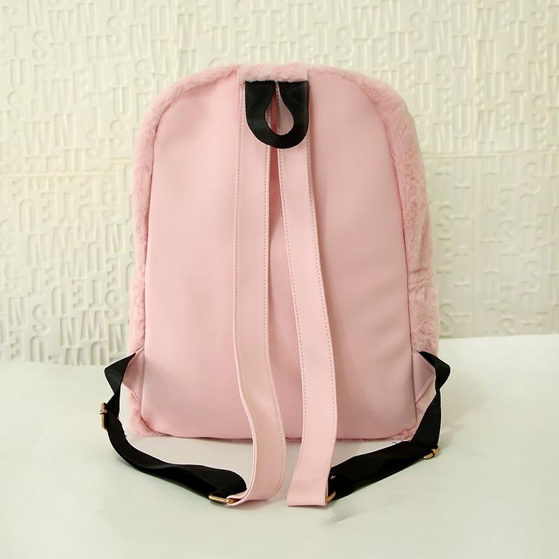 Moon Wood Faux Fur Rucksack - Pink, White or Black 2