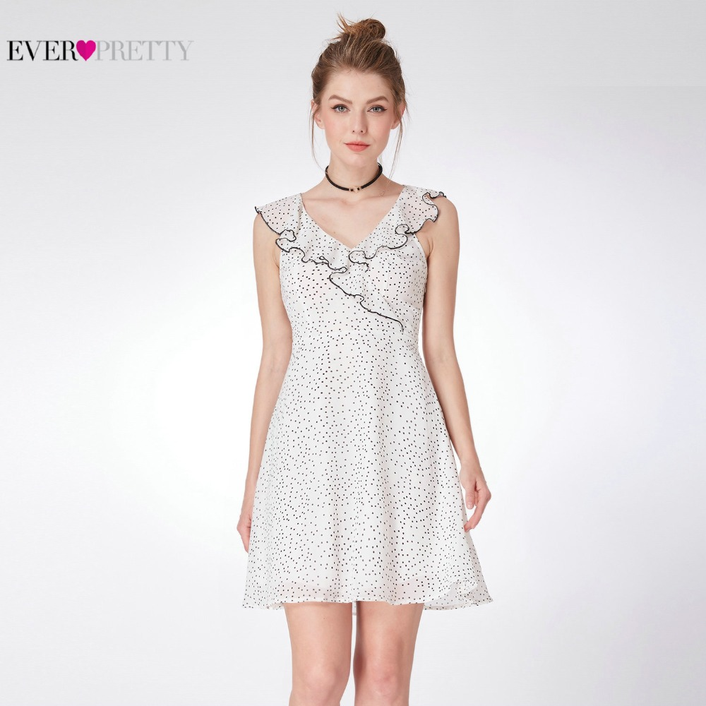 2018 New Fashion   Cocktail     Dresses   Mini V Neck Ruffles Ever Pretty AS05986 Lotus Leaf Feminine Casual Women Summer   Dresses