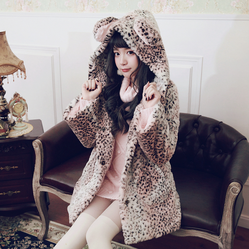 Princess sweet lolita student sweater BOBON21 Leopard bear coat powder gradient liner with cashmere coat C1437