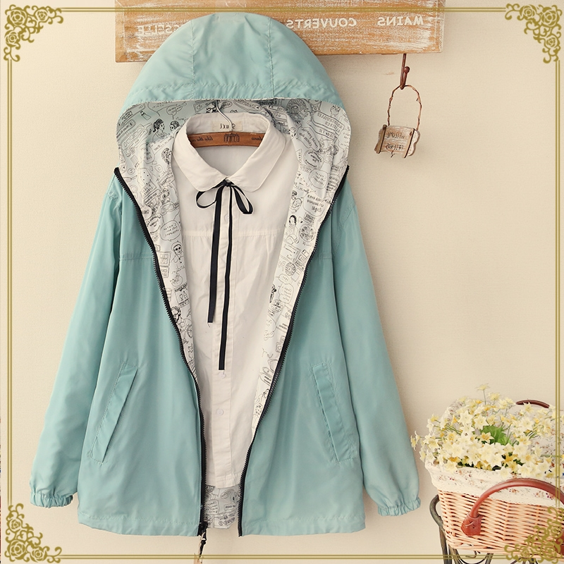Autumn Bomber   Basic     Jacket   Women Zipper Hooded Two Side Wear Cartoon Print Casual Coat Loose Windbreaker Outwear