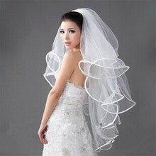 2016 Simple Elegant for Women Short White Vintage Wedding Veils With Pencil Edge Bridal Veils Free shipping