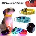 1pcs Pet Cat Dog Glow LED Leopard Collar Light Up Neck Strap Flashing Dog Neck Collars