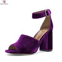 Original Intention New Elegant Women Sandals Nice Open Toe Square Heels Sandals Black Blue Purple Shoes