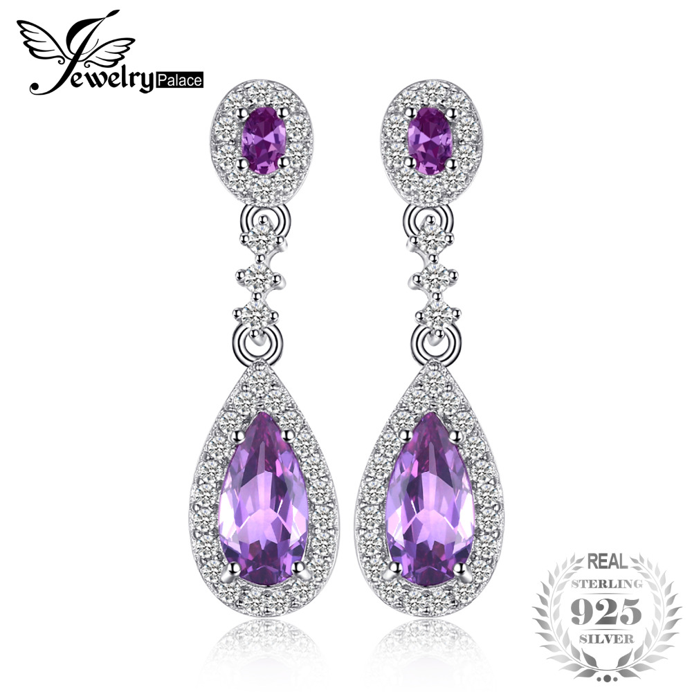 JewelryPalace Luxry 4.2ct Created Alexandrite Sapphire Drop Earrings Real 925 Sterling Silver Jewelry Brand New Fine Accessories jewelrypalace new 1 3ct pear created alexandrite sapphire water drop earrings 925 sterling silver fashion fine jewelry for women