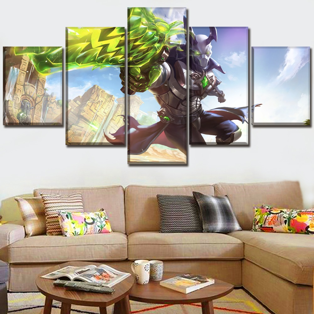 Decor Framework One Set Wall Art Home Decor Canvas Print Paintings 5 Pieces Game Paladins Androxus Poster Living Room Picture