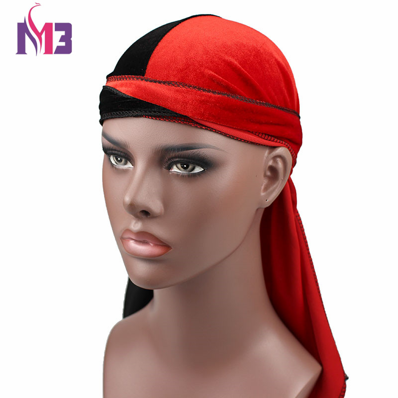 New Fashion Mens Velvet Durags Bandana Turban Hat Wigs Half Doo Durag Biker Headwear Headband Pirate Hat Hair Accessories ...
