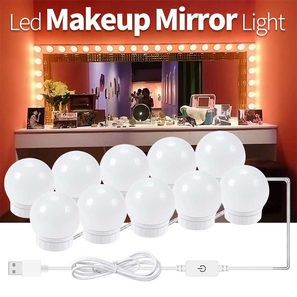 Nouveau miroir lumière prise USB 12V miroir lampe Hollywood maquillage outil lampe murale maquillage miroir vanité lumière LED ampoules réglable en continu