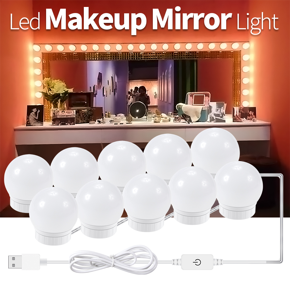New Mirror Light USB Plug 12V Mirror Lamp Hollywood Makeup Tool Wall Lamp Makeup Mirror Vanity LED Light Bulbs Stepless DimmableNew Mirror Light USB Plug 12V Mirror Lamp Hollywood Makeup Tool Wall Lamp Makeup Mirror Vanity LED Light Bulbs Stepless Dimmable