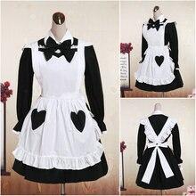 HEIßER VERKAUF! V-1085 Schwarz knielang Volle hülsen Gothic Lolita Kleid schuluniform Halloween Cosplay Cocktailkleid Alle größe
