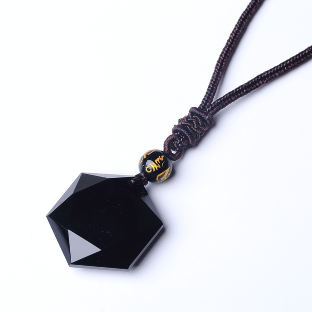 28aa9e56d1df6 US $6.44 50% OFF|QIANXU Black Obsidian Six Awn Star Pendant Necklace  Obsidian Star Jewelry Obsidian Jade Jewelry Fine Jewelry-in Pendants from  Jewelry ...