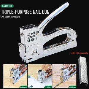 Image 2 - LAOA Nail Gun Upholstery Framing Rivet Staple Guns Kit Furniture Stapler For Wood Door Nailers Rivet Tool Gift with Needles