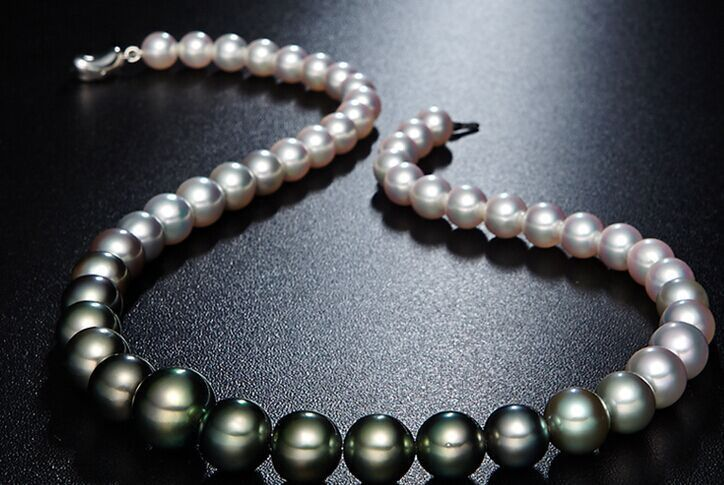 classic 9-10mm south sea natural black white multicolor pearl necklace 18inch цены