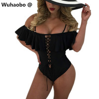 Wuhaobo Ruffles Bodysuit Women Lace Up Bodycon Short Overalls Sexy Off Shoulder Backless Combinaison Femme Lace Up Bodysuits XD9