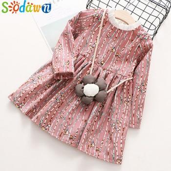 Sodawn Girls Clothes Autumn Baby Girls Dress Sweet Style Cartoon Pattern Long Sleeves Princess Dress Children Clothing Dress