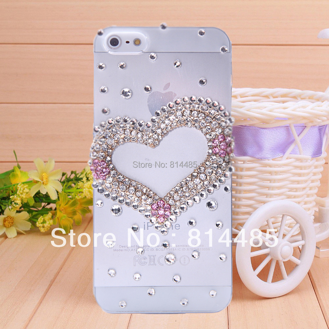 New Hot Fashion Bling Shiny Cute heart   Cover case for iPhone 5 5s  diamond phone case free shipping
