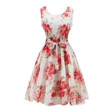 Women Vintage Elegant Dresses Fashion O-neck Sleeveless Belt Strap Printed A-line Party Dresses