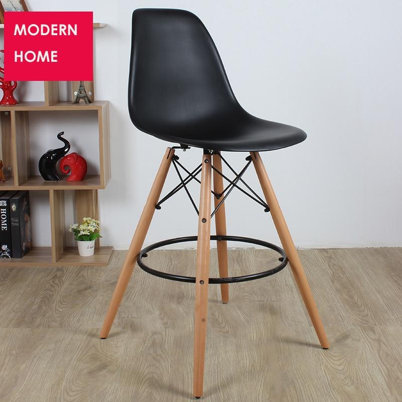 Us 179 0 Modern Design Loft Bar Stool Plastic Kitchen Room Counter Stool Wooden Bar Chair Loft Cafe High Stool Seat Height 65cm 1 Pc In Bar Chairs