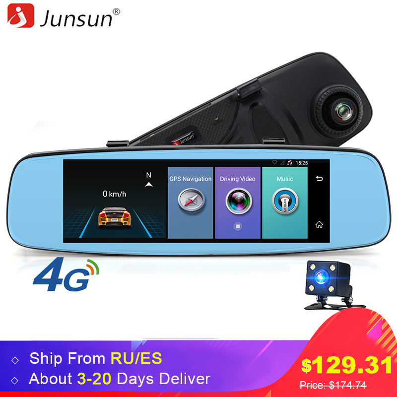 Junsun 4G Car DVR Mirror 7 86 Android GPS ADAS Remote Monitor Dual Lens Rear View