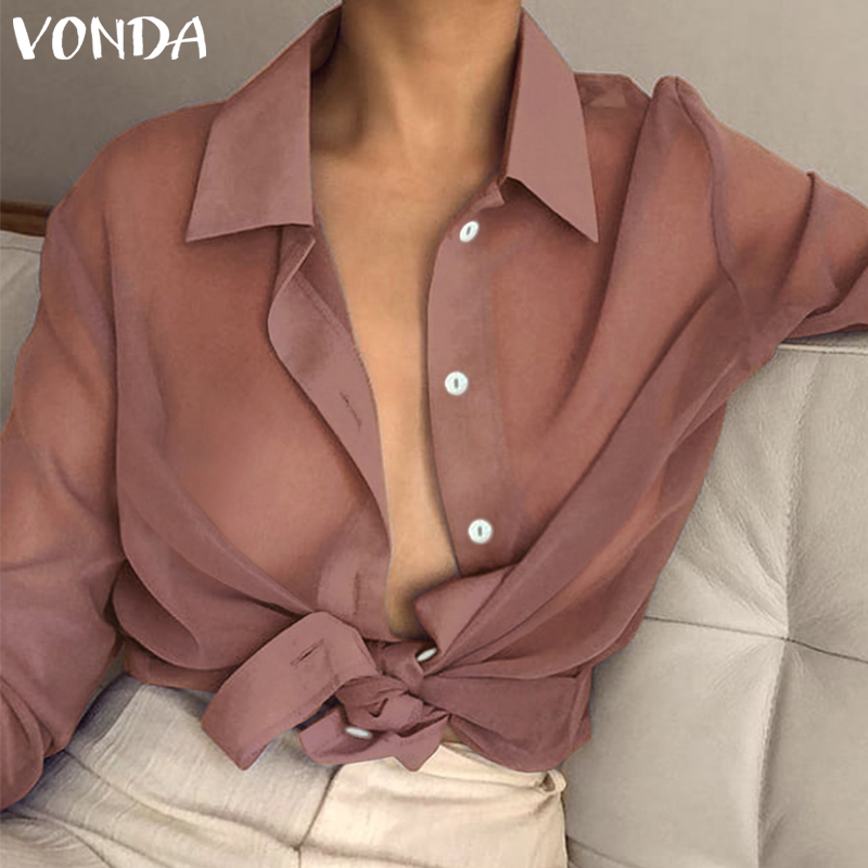 VONDA 2019 Women Tops Sexy Lapel Neck Long Sleeve Blouse Spring Summer Beach Wear Transparent See Through Office Shirt S-5XL
