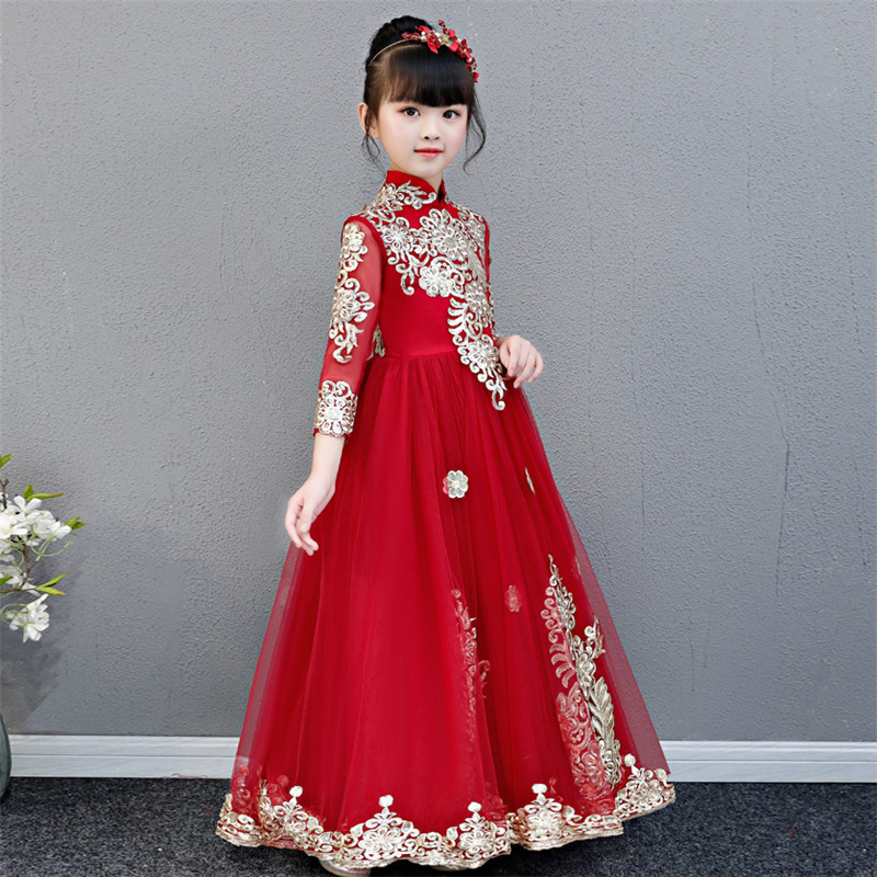 Little Girls Toddler Elegant Wine-red Embroidery Flowers Birthday Wedding Party Prom Dress Kids Teens Luxury Host Piano Dress