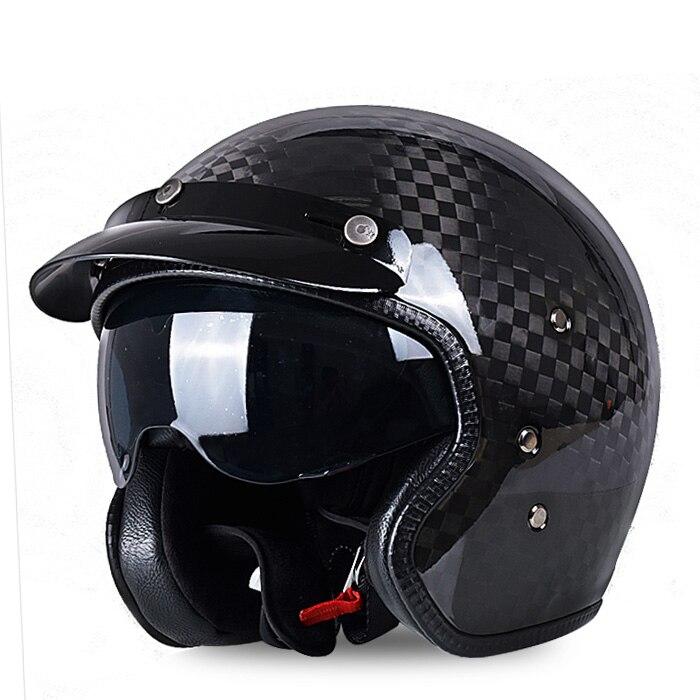 Carbon Fiber Motorcycle Helmet >> AMU Black Carbon Fiber Open face 3/4 Motorcycle motorcross helmet Casco,Jet Vintage Retro helmet ...
