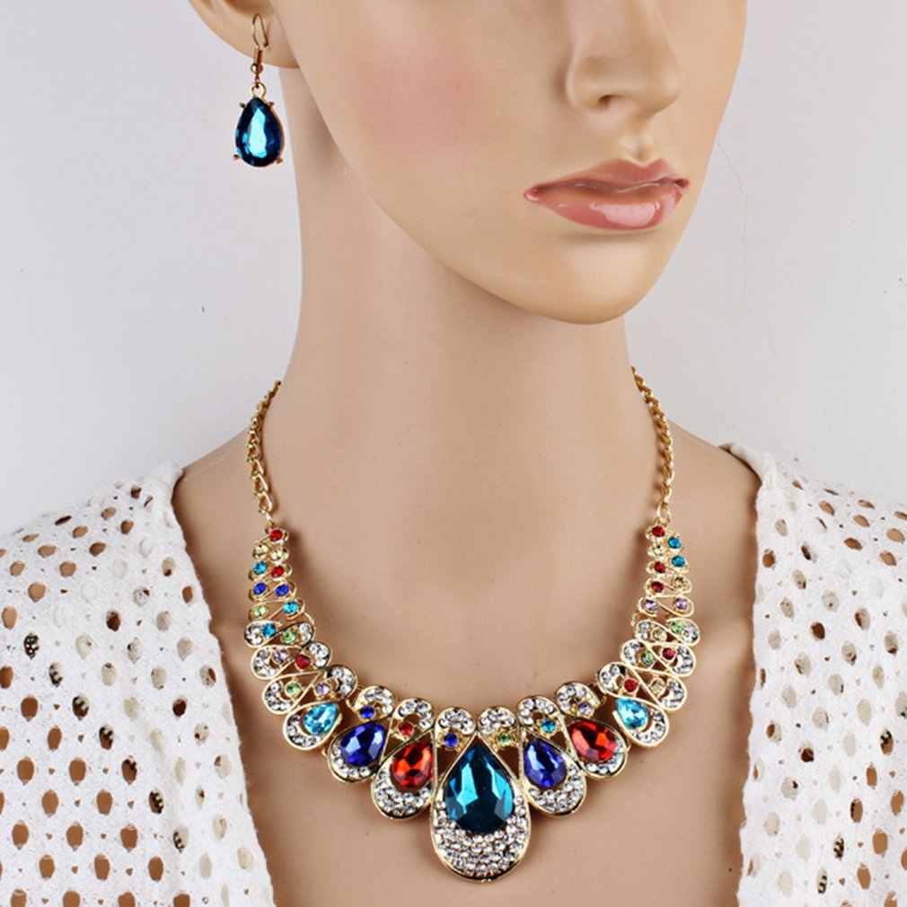 Women Luxury Rhinestone Necklace Earring Set for Bridesmaid Wedding Bridal Jewellery with Pendant Waterdrop Shaped Jewelry sets