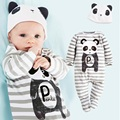 Panda Macacão de Bebê Meninos Roupas Definir One-Pieces Ternos Geral Grey Stripe Pijamas de Manga Longa