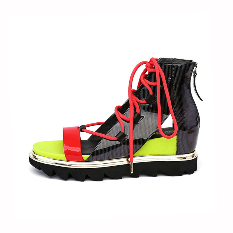 Candy สีรองเท้าแตะความสูงเพิ่ม Gladiator แพลตฟอร์ม Wedge รองเท้าผู้หญิงวาเลนไทน์รองเท้า Creepers HL98 MUYISEXI-ใน รองเท้าส้นสูง จาก รองเท้า บน   2