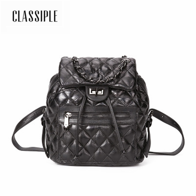High Quality Women Backpack Fashion Genuine Leather Black Plaid Backpack For Teenage Girls School Bags For Teenage Girls Female fashion solid women backpack high quality leather backpack female daily backpack for teenage girls schoolbag leisure daypack sac