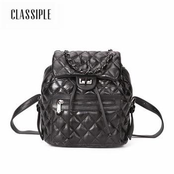 High Quality Women Backpack Fashion Genuine Leather Black Plaid Backpack For Teenage Girls School Bags For Teenage Girls Female