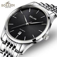 Top Brand Sollen Теги Часы Мужчины Роскошный черный Механические Часы мужской Моды из нержавеющей стали календарь Наручные Часы Montre